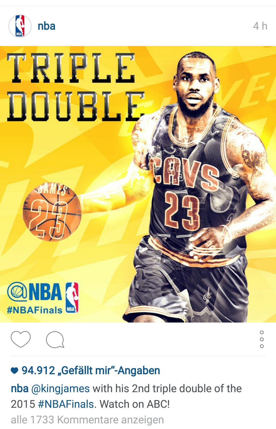 NBA-Visuals zu der Finalserie 2015 bei Instagram